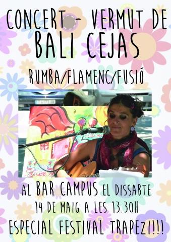 Concert-vermut de Bali Cejas al Bar Campus el dissabte 14 de maig especial Trapezi