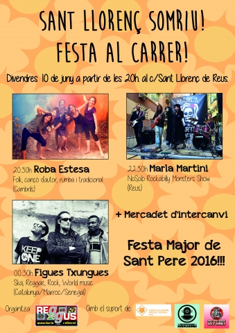 Festa-Concert al carrer Sant Llorenç de Reus el divendres 10 de juny
