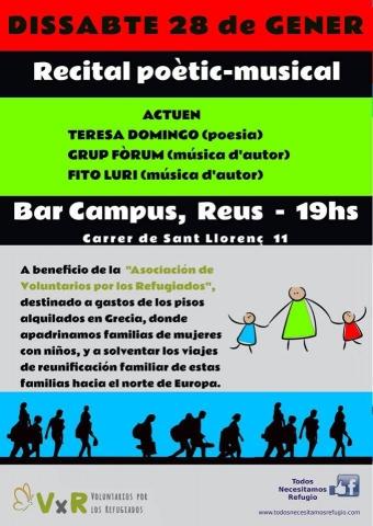 Recital poètic-musical solidari el 28 de gener al Bar Campus a benefici de l'associació 'Voluntarios por los refugiados'