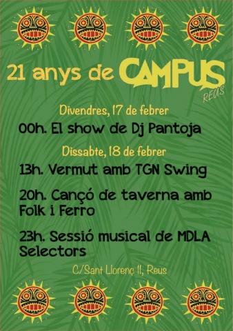Sessions musicals el 17 i 18 de febrer pels 21 anys del Bar Campus