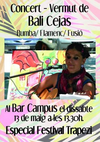 Concert-vermut de Bali Cejas al Bar Campus el dissabte 13 de maig