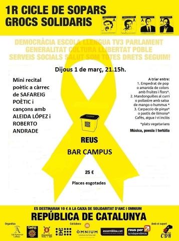 Sopar groc solidari l'1 de març al Bar Campus