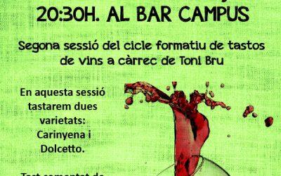 2n Tast de Vins Varietals al Bar Campus el dilluns 11 de març